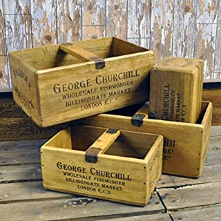 Rustic Vintage Style Set 4 Wooden Herb Picking Box Crate Tray