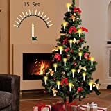 Kabellose LED Weihnachts-Baum-Beleuchtung Kerzenzauber Deluxe kabellos mit Timer 15er-Set Fernbedienung Christbaum-Beleuchtung (Cremefarben)