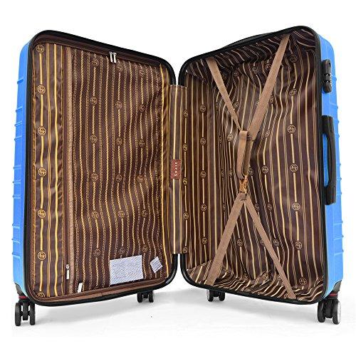 SHAIK SerieCLASSIC JFK Design Hartschalen Trolley, Koffer, Reisekoffer 4 Doppelrollen Zwillingsrollen, Zahlenschloss (Set, Dunkelblau) - 3
