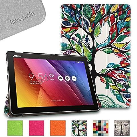 BeePole ASUS ZenPad 10 Z300M/Z300C Etui - Coque protectrice Smart pliée en trois en cuir PU de tablette pour ASUS ZenPad 10 (Z300M/Z300C) 10.1