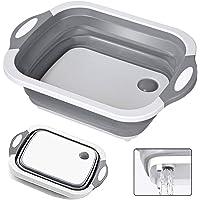 Eauta  Tagliere pieghevole  vaschetta per i piatti da lavandino  cestino portaoggetti  con tappo di scarico  kit da cucina multifunzione 3 in 1