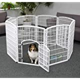 Iris Usa, Inc. 34'' Exercise 8-Panel Pet Playpen With Door, Frosty White