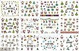 12pcs Frohe Christimas heißer Verkauf und moderner Wasserübertragungnagelaufkleber, es einschließlich Schneemann, Rotwild, Weihnachtsbaum, Geschenk, Weihnachtsmann, snowflower, Vogel, Glocke, Socke, usw.