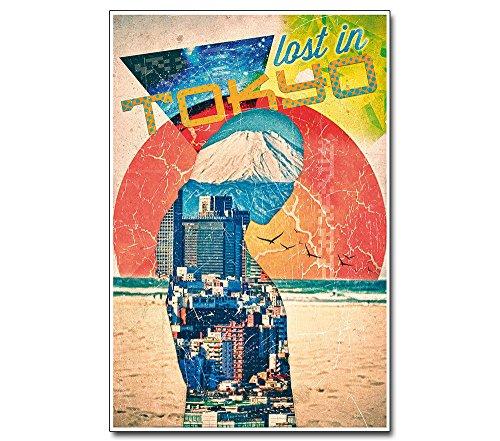 Pop Art Poster Tokio --- Abstrakte Kunst Architektur Bauhaus-Stil --- Lost in Tokyo