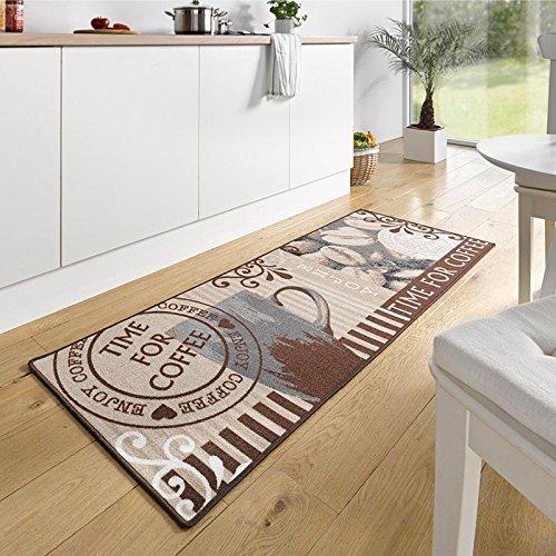 Design Velours Küchenläufer Time for Coffee Braun 67x180 cm   102372