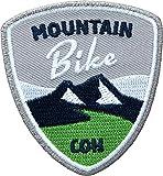 2 x Abzeichen gestickt 55 x 60 mm / Mountain-Bike / für MTB Radtouren Alpencross Transalp Downhill / hochwertig gestickte Applikation Aufnäher Aufbügler Flicken Bügelbild Patch für Kleidung Tasche Rucksack