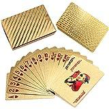 Carte da Poker impermeabili 24K Foglia Oro Carati Placcato Poker Carte da Gioco, Poker Playing Cards Golden Poker Cards with Box Perfect for Gift