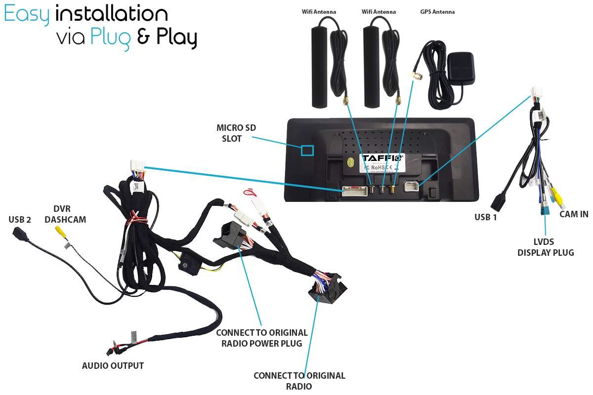 TAFFIO-Mercedes-GLA-CLA-A-X156-W176-W117-NTG-5x-1025-Android-81-HD-Display-Touchscreen-GPS-Navigation-Display-Bluetooth-USB-SD-Media-Player-8-Octa-Core-Prozessor-4GB-RAM-64GB-ROM