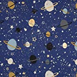 0,5m Jersey blau Weltraum Foliendruck Metalloptik Gold Gewicht 200 g/m2 1,4m breit