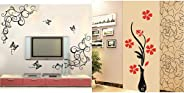 Decals Design 'Lovely Butterflies' Wall Sticker (PVC Vinyl, 90 cm x 30 cm, Black) & 'Flowers with Vase' Wall Sticker (PVC Vi