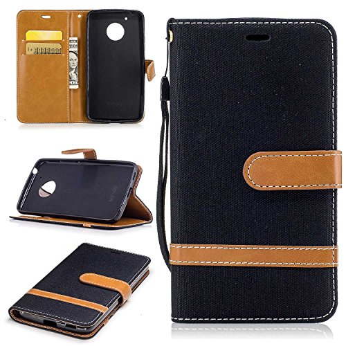KKEIKO® Moto G5 Leather Case [with Free Tempered Glass Screen Protector], Moto G5 Premium Notebook Style Flip Wallet Case, Protective Bumper Cover (Black)
