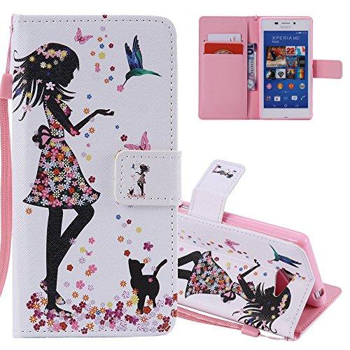 EMAXELERS Sony Xperia M2 Hülle Flip Schale Brieftasche Standfunktion und Karte Halter Etui Kartenfächer Wallet Tasche Etui für Sony Xperia M2,Colorful Feeding Girl