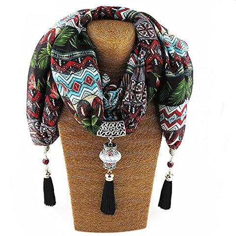 Yxzn Écharpe Style Mode Pendentif ethnique Femme, 2