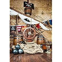 Antecedentes para Photo Studio piratas barco cubierta con volante bandera Vintage mapa de pared fotografía telón de fondo niños fotografías interior Prop 5× 7ft