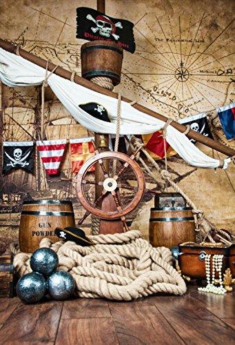 Hintergründe für Fotostudio Piraten Schiff Deck mit Lenkrad Flagge Vintage Weltkarte Wand Fotografie Hintergrund Kinder Fotos Innen Prop 5× 7ft (Flagge Schiffe Für)