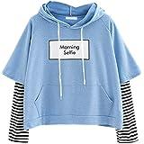 Sudadera con Capucha Cortas para Mujer Sudadera Adolescentes Chicas Patchwork Estampado Raya Blusa Tops Camiseta de Manga Lar
