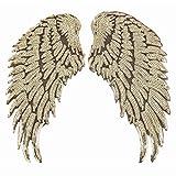 1 Paar Pailletten Engelsflügel Bügelbild DIY bestickt Applikation Bling Flügel für Jacken Stoff Dekoration Valentinstag Geschenk gold