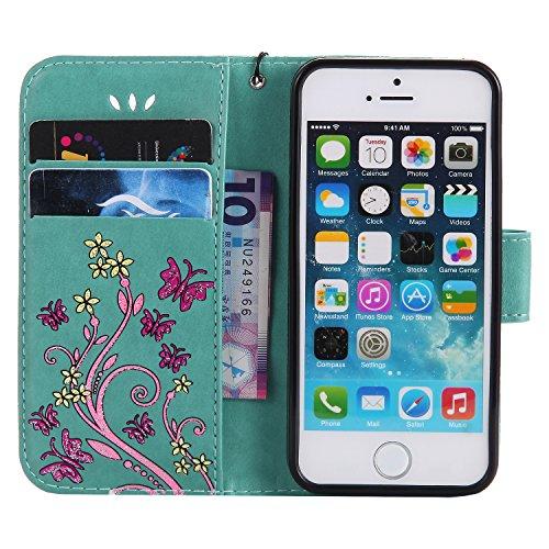 Close Cover per Apple iPhone 5/5s/SE, CLTPY Retro Colorati Marmo Flower Dipinto Copertura di Progettazione Folio PU e Tasche Card Slot, Morbido TPU Interno Supporto Protettiva Caso per iPhone 5,iPhone Verde