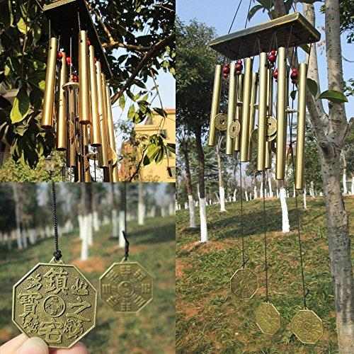SUNFIRE Carillon éolien en bois à suspendre Greco Home Decor jardin décoration extérieur tube dans 17 cadeau