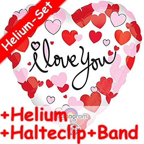 Folienballon Set * I LOVE YOU + HELIUM FÜLLUNG + HALTE CLIP + BAND * // Aufgeblasen mit Ballongas // Deko Folien Ballon Luftballon Ich liebe dich Valentinstag Heirat Hochzeit (Liebe Ich Dich-ballon)