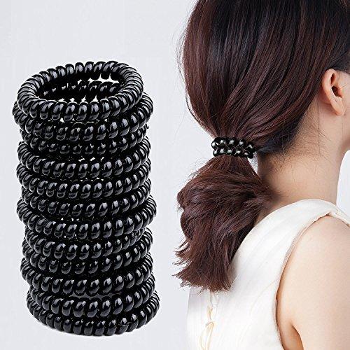 Spiral Haargummis – Meersee 20 Stück Große Telefonkabel Haargummi Haargummis ohne Metall Seil Pferdeschwanz Halter für Dicke und Lockiges Haar