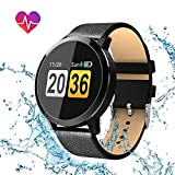Smartwatch, Hizek Q8 Wasserdicht Smart Watch Intelligente Rund Bluetooth Fitness Armbanduhr mit Herzfrequenz / Blutdruck / Schlaf Monitor / SMS-, Anruf-Benachrichtigung Touchscreen für Android Ios Iphone Samsung Sony Huawei Damen Herren (Schwarz)