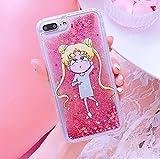 Glitter Flowing custodia per iPhone 7+ iPhone 7PLUS 8PLUS grandi dimensioni 14cm schermo 3D Cartoon antiurto protettiva Cool Fun Kawaii cute Fashion Hot Gift Girls Teens Kids donne Sailor Moon 1