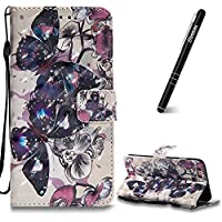 iPhone 6 Plus Case, iPhone 6 Plus Leather Case Wallet, Slynmax 3D Printing Black Butterfly Design Flip Folio PU Leather Wallet Case Inner Soft TPU Cover with Stand Function Hand Strap Card Holders Magnetic Closure Book Style Shock Resistant Protective Cas