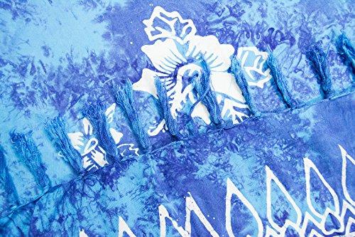 ManuMar Damen Sarong | Pareo Strandtuch | Leichtes Wickeltuch mit Fransen-Quasten Mini-Rock 55x155 cm Blau Hibiscus