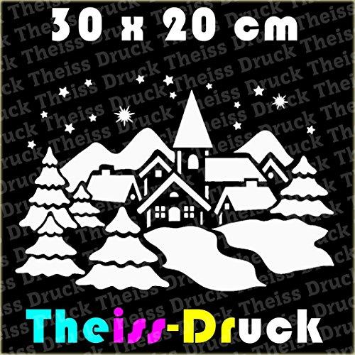 Winterlandschaft 30 x 20cm Fensterdekoration zu Weihnachten - Schneemann, Sterne, Tannenbaum, Rentier Fensterbild / Fensteraufkleber,Weihnachtsdekoration, (Weiss)