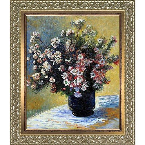 overstockart Vase of Flowers von Claude Monet handbemalt Öl auf Leinwand mit Rokoko silber und gold...
