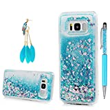 For Galaxy S8 Case, YOKIRIN Clear Flexible Silicone Phone Cover Pink Glitter Shiny Liquid Sand Shockproof Protective Case for Samsung Galaxy S8 with One Touch Pen & One Dust Plug,Blue