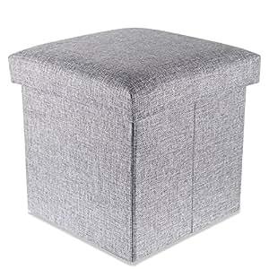 intirilife 30 x 30 x 30 cm sitzhocker aufbewahrungs box aus stoff in leinen optik und. Black Bedroom Furniture Sets. Home Design Ideas