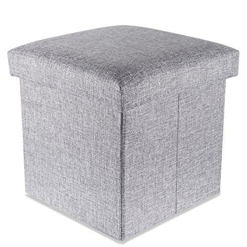 garderobe hocker Intirilife – 30 x 30 x 30 cm Sitzhocker Aufbewahrungs-Box aus Stoff in Leinen-Optik und Dekopappe Faltbox Ordnungsbox Kiste mit Deckel in Alaska-GRAU