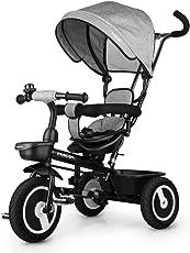 Fascol Dreirad 6 in 1 Kinderdreirad Kinder Fahrrad Baby Kleinkinder mit Lenkbarer Schubstange, mit FlüSterleise Gummireifen und Sonnendach für Jungen und Mädchen ab 12 Monate -5 Jahre,Grau