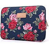 Kayond Peony Patterns Canvas Fabric 10-15 Inch for Laptop / Notebook Computer / Macbook Air / Macbook Pro Sleeve Case Bag Cover (13 inch, Blue)