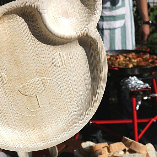 greenbox 144x Einweg Kinderteller aus Palmblatt | Bärchenteller, Kindergeschirr | als Geburtstagsteller, Partyteller | Ohren als Dipschälchen | 22x24cm | 100% biologisch, kompostierbar - 6