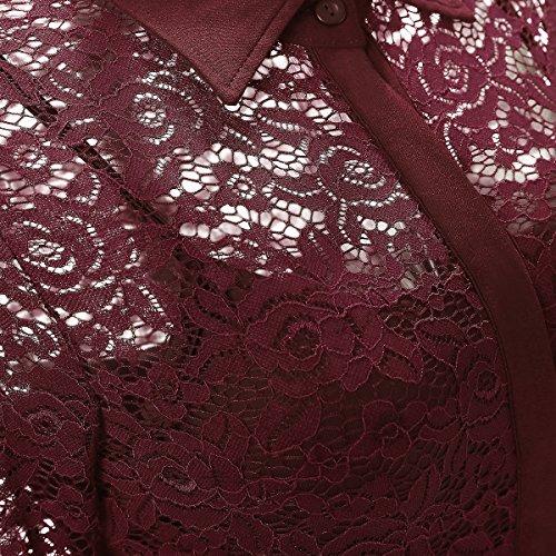 Gigileer Elegant Damen Kleider Spitzenkleid Cocktailkleid Winter Knielanges 3/4 Arm festlich hochzeit Burgundy L -