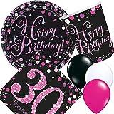 Carpeta 33-teiliges Partyset * PINK Sparkling Celebration * für den 30. Geburtstag // mit Teller + Becher + Servietten Luftballons // Deko Set Party Mottoparty Motto dreißig Magenta