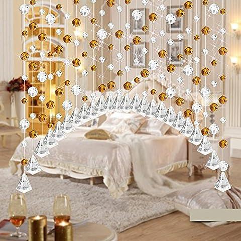 ARC Fini Perle en cristal Rideau Damark (TM) Mode Rideau Cristal de luxe Salon Chambre à coucher fenêtre Porte Mariage, Verre cristal, jaune, 1M