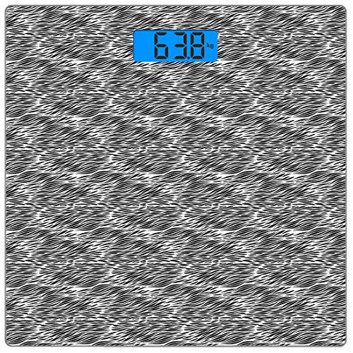 Bilancia digitale di precisione piazza Zebra Print Misurazioni accurate del peso della bilancia pesapersone in vetro ultra sottile,Illustrazione di camuffamento di pelle di animale africano disegnato