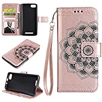 LENNY3 Wallet Case, EST-EU Retro Mandala Embossing PU Leather Stand Function Protective Covers with Card Slot Holder Wallet Book Case for WIKO LENNY3, Rose Gold