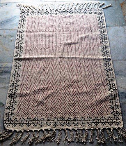 Vintage Türkisch handgefertigt Block Print Baumwolle Kilim Kelim Teppich Läufer Kelim Teppich (Läufer 36-zoll-teppich)