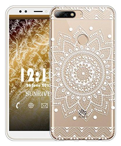 Sunrive Für Huawei Y7 2018 / Honor 7C Hülle Silikon, Transparent Handyhülle Schutzhülle Etui Case für Huawei Y7 2018 / Honor 7C(TPU Blume Weiße)+Gratis Universal Eingabestift