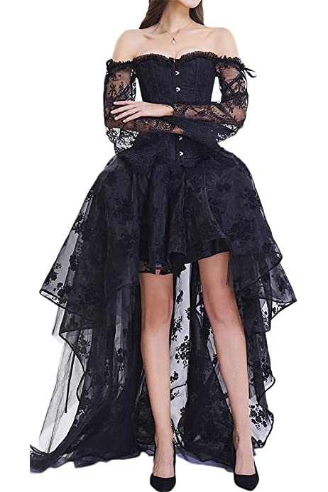 COSWE Donna Gonne Nero Punk Irregular Vestito Steampunk Cocktail Chiffon Pizzo Party Rock Cosplay Costume