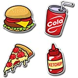 Presta Gifts Wooden Fast Food Fridge Magnets for Home and Kitchen Decoration (Multicolor, 3x2 inches) - Set of 4 Designs