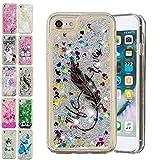 E-Mandala Coque Apple iPhone 6S 6 Paillette Liquide Brillante Plume Noire Silicone...