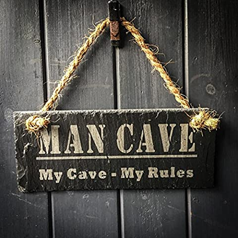 Slate Man Cave Hanging Sign - 25x10cm - Perfect Manly Gift For Xmas, Birthday, Fathers Day