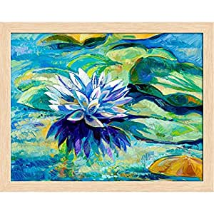 AZ Water Lily Canvas Painting Natural Brown Wood Frame 22.8 x 18inch