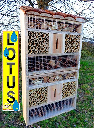 insektenhotel, mit Naturdach, mit Spezialoberflächenbeschichtung Lotus, FDV-Holo-OS XXL viele Farben Insektenkasten farbige Nistkästen Holz Insekten
